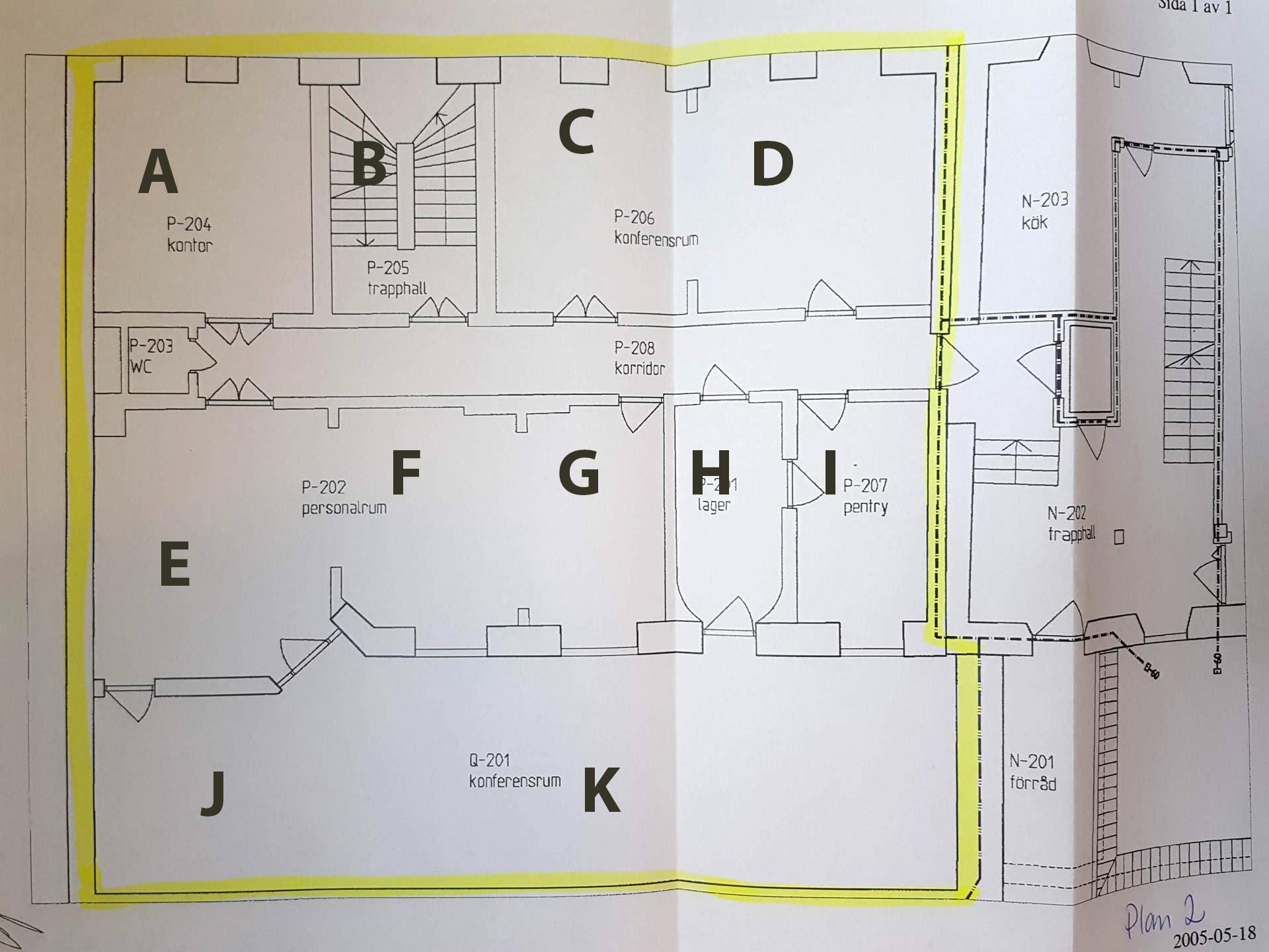 Rritning för plan 2 Malmö Arena S:t Gertrud. Avgränsade utrymmen markerade A-K.